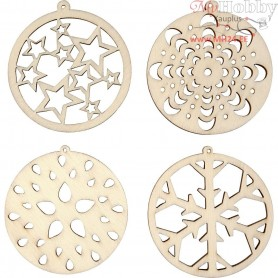 Ornament, round, D: 50 mm, thickness 3 mm, plywood, 8pcs