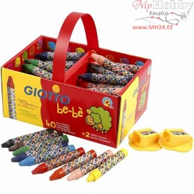 Wax Crayons, D: 11 mm, L: 7 cm, 40pcs