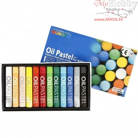 Mungyo Oil Pastel, thickness 11 mm, L: 7 cm, asstd colours, 12pcs