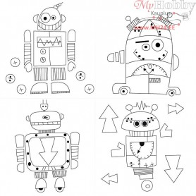 Stretched Canvas With Print, size 15x15 cm, depth 1,4 cm, robots, 4pcs