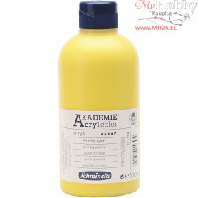Schmincke AKADEMIEĀ® Acryl color, primary yellow (224), semi-opaque, good fade resistant, 500ml