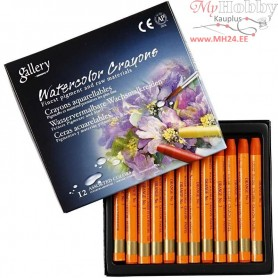 Watercolor Crayons, thickness 8 mm, L: 9,3 cm, orange (310), 12pcs