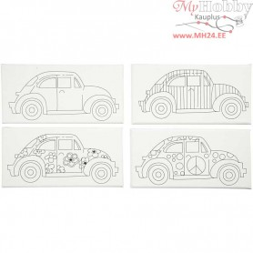Stretched Canvas With Print, size 10x20 cm, depth 1,4 cm, cars, 4pcs