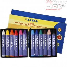 Wax Crayons, thickness 15 mm, L: 9 cm, 12pcs
