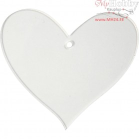 Acrylic ornaments, heart, H: 7 cm, thickness 2 mm, 5pcs
