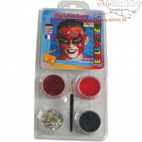 Eulenspiegel Face Paint - Motif Set, asstd colours, spiderman, 1set