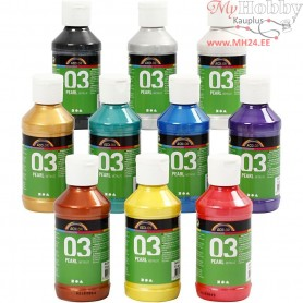 A-Color Acrylic Paint - Assortment, 03 - metallic, 10x120ml