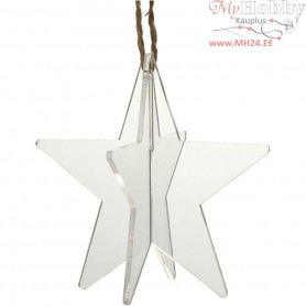 Acrylic ornaments, 3D star, size 7,5x7,5 cm, thickness 2 mm, 3pcs
