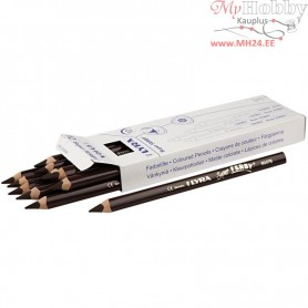 Super Ferby 1 colouring pencils, lead: 6,25 mm, L: 18 cm, dark brown, 12pcs