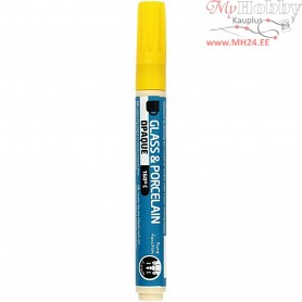 Glass & Porcelain Pens, line width: 2-4 mm, yellow, opaque, 1pc