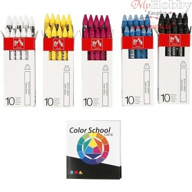 Neocolor II, thickness 8 mm, L: 10 cm, asstd colours, primary colours, Color School instructions included, 5x10pcs