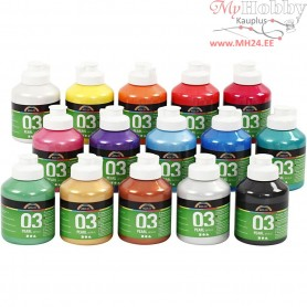A-Color Acrylic Paint, asstd colours, 03 - metallic, 15x500ml