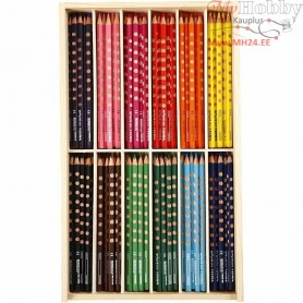 Groove Slim Colouring Pencils, lead: 3,3 mm, L: 18 cm, asstd colours, 144pcs