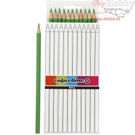 Colortime colouring pencils, lead: 3 mm, L: 17 cm, light green, basic, 12pcs