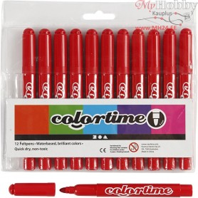 Colortime Marker, line width: 5 mm, red, 12pcs