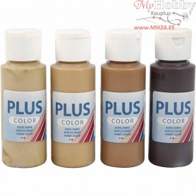 Plus Color Craft Paint, asstd colours, 4x60ml