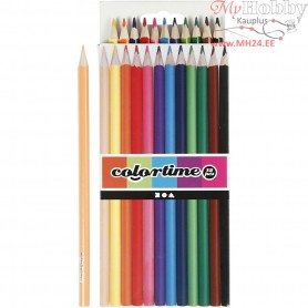 Colortime colouring pencils, lead: 3 mm, asstd colours, Basic, 12pcs