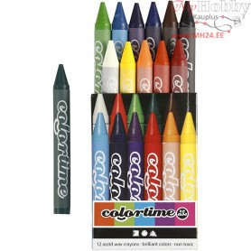 Colortime Wax Crayons, thickness 11 mm, L: 10 cm, asstd colours, 12pcs