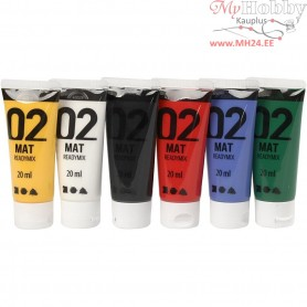 A-Color Acrylic Paint, asstd. colours, 02 - matt, 6x20ml