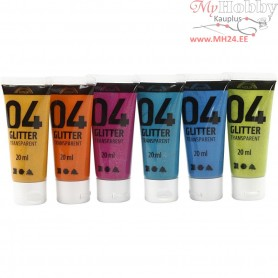 A-Color Acrylic Paint, asstd. colours, 04 - glitter, 6x20ml