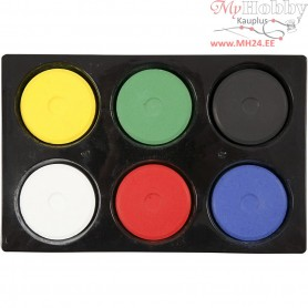 Watercolour In Palette, D: 44 mm, H: 16 mm, primary colours, 6pcs