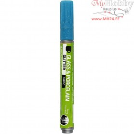 Glass & Porcelain Pens, line width: 2-4 mm, turquoise, glitter - semi opaque, 1pc
