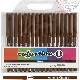 Colortime Marker, line width: 2 mm, brown, 18pcs