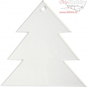 Acrylic ornaments, christmas tree, H: 8 cm, thickness 2 mm, 5pcs