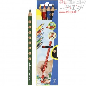 Groove colouring pencils, lead: 4,25 mm, L: 18 cm, asstd colours, 5pcs