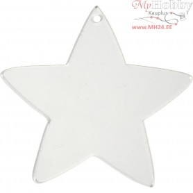 Acrylic ornaments, star, H: 8,5 cm, thickness 2 mm, 5pcs