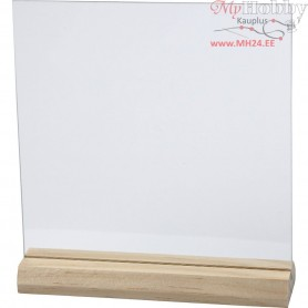 Glass Plate with Wooden Holder, size 15,5x15,5 cm, thickness 28 mm, 10sets