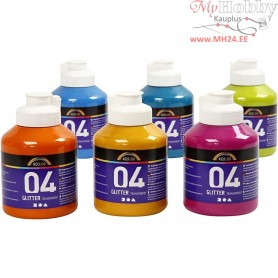 A-Color Acrylic Paint, asstd. colours, 04 - glitter, 6x500ml