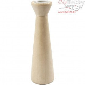 Candle Light Holder, H: 16,5 cm, D: 5 cm, poplar wood, 1pc