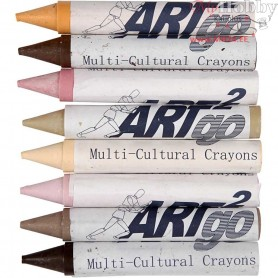 Wax Crayons, L: 10 cm, D: 15 mm, skin colours, 8pcs