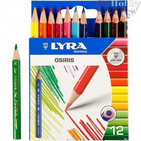 Osiris colouring pencils, lead: 3 mm, L: 8,5 cm, asstd colours, 12pcs
