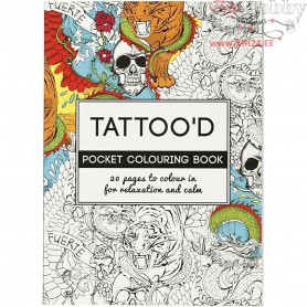 Mindfullness Colouring Book, size 10,5x14,5 cm,  20 pages, Tattoo'd, 1pc