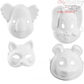 Masks, animals, H: 17-25 cm, W: 18-24 cm, 12pcs