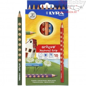 Groove colouring pencils, lead: 4,25 mm, L: 18 cm, asstd colours, 10pcs