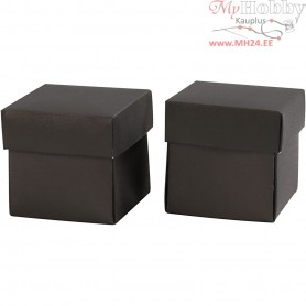 Folding box, size 5,5x5,5 cm,  250 g, black, 10pcs