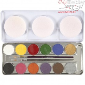 Water Makeup Palette, asstd colours, 12colours