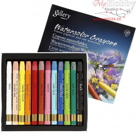Watercolor Crayons, thickness 8 mm, L: 9,3 cm, 12pcs