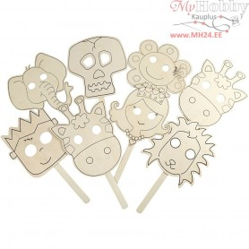 Masks, W: 22 cm, L: 35 cm, plywood, 16pcs, thickness 2 mm