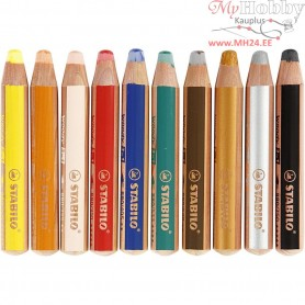 Woody 3-in-1 Pencils, lead: 10 mm, L: 11 cm, asstd colours, 10pcs, thickness 16 mm