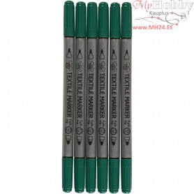 Textile Markers, line width: 2,3+3,6 mm, green, 6pcs