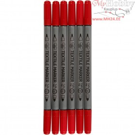 Textile Markers, line width: 2,3+3,6 mm, red, 6pcs
