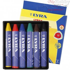 Wax Crayons, thickness 15 mm, L: 9 cm, 6pcs