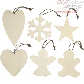 Christmas Ornaments, size 9-11 cm, thickness 4 mm, plywood, 6pcs