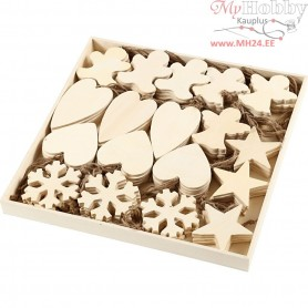 Christmas Ornaments, size 9-11 cm, thickness 4 mm, plywood, 90pcs