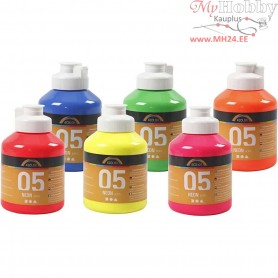A-Color Acrylic Paint, neon colours, 05 - neon, 6x500ml