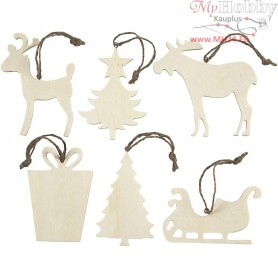 Christmas Ornaments, size 7-9 cm, thickness 4 mm, plywood, 6pcs